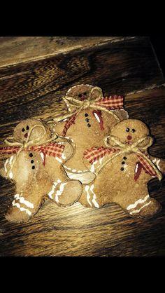 Salt dough gingerbread ornaments.