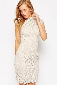 White Lace High Neck Midi Dress LAVELIQ SALE