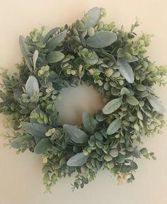 Eucalyptus and Lamb's Ear Wreath, Wall Decor, Housewarming Gift, Farmhouse Wreath Decor, Wedding Dec Wreaths For Front Door, Door Wreaths, Diy Christmas Kitchen, Magnolia Wreath, Green Wreath, Lambs Ear, Diy Wreath, Christmas Wreaths, Spring Wreaths