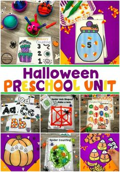 Looking for fun Preschool Halloween Activities? This set of fun Hands-on Centers and Printables are the perfect addition to your Preschool Halloween Theme. Halloween Theme Preschool, Halloween Letters, Halloween Math, Halloween Activities, Halloween Themes, Preschool Activities, Halloween Crafts, Preschool Curriculum, Halloween Worksheets