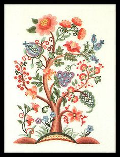 "VINTAGE DIMENSIONS ""JACOBEAN FLOWER TREE"" CREWEL EMBROIDERY KIT"