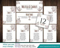 DiY Printable Wedding Seating Chart Template - Instant Download - EDITABLE TEXT - Rustic Birds, Vintage, Floral - MS® Word Format HBC13n