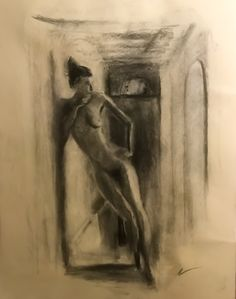 Daylight In A Hallway, charcoal by Adlai Burman