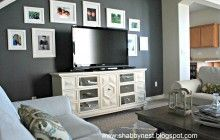 Awesome Grey Living Room Decorating Ideas With Black Wall And Some Frame Picture Also White Drawer Cabinet With Lcd Tv Stand Plus Light Blue Sofa And Wooden Coffee Table