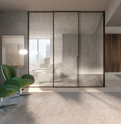 MANHATTAN Sliding doors in clear glass with Lino decorations and moka finish. Made in Italy. Distributed by Snaidero USA Diy Lit, Glass Partition Designs, Interior Walls, Interior Design, Scandinavian Home Interiors, Japanese Interior, Home Room Design, Living Room Modern, Office Interiors