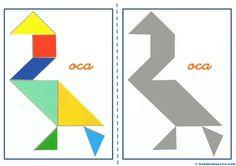 Tangram, figuras para imprimir online pretendo facilitar información y aportar material educativo que he elaborado para descargar e imprimir. Maths Day, Numicon, Busy Book, Learning Games, Math Activities, Paper Piecing, Worksheets, Origami, Symbols