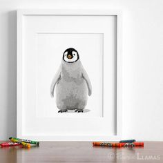 Baby penguin art print, black and white penguin nursery artwork - minimalist baby animal art Penguin Drawing, Penguin Art, Penguin Nursery, Animal Nursery, Penguin Illustration, Baby Animal Drawings, Nursery Artwork, Baby Zebra, Baby Penguins