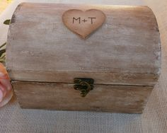 Rustic Vintage Wood Wedding Card Box Decor With Custom Initials In A Heart…
