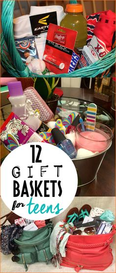 12 Gift Baskets for Teens. Creative Easter baskets for kids, tweens and teens. Clever ideas on what to put in an Easter basket. Practical and useful Easter Baskets for teen boys and girls. Gift baskets for holidays, birthdays and bridal showers.