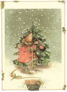 Christmas Celebration — Vera The Mouse by Marjolein Bastin Christmas Scenes, Noel Christmas, Vintage Christmas Cards, Christmas Pictures, Vintage Cards, Christmas Crafts, Christmas Decorations, Xmas, Maus Illustration
