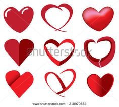 Vector illustration of red heart shape in different fun designs