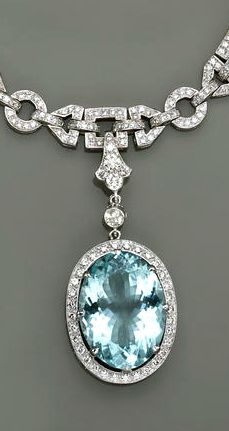 An aquamarine diamond and eighteen karat white gold bracelet the an aquamarine diamond and eighteen karat white gold pendant necklace the necklace designed as a aloadofball Image collections