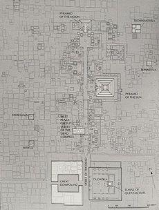 Teotihuacan Pyramids plattegrond. Een georganiseerde rondreis Mexico met manlief in 2003.