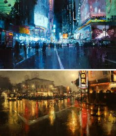 Cityscape paintings by Jeremy Mann.