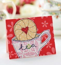 Grab a cuppa and stitch Carolyn Letten& whimsical card set Freehand Machine Embroidery, Free Motion Embroidery, Free Machine Embroidery Designs, Embroidery Cards, Birthday Cards For Women, Handmade Birthday Cards, Greeting Cards Handmade, Fabric Cards, Fabric Postcards