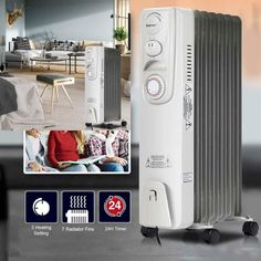 7d75a5a683b 1500 W 7-Fin Timer Thermostat Electric Oil Filled Radiator Heater  COSTWAY   electricheater