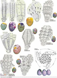 jaja § copertura per uova§ Crochet egg Easter Crochet Christmas Ornaments, Holiday Crochet, Crochet Snowflakes, Christmas Crafts, Crochet Diagram, Filet Crochet, Crochet Motif, Crochet Doilies, Crochet Stone