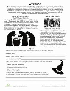 Halloween Fifth Grade Comprehension Worksheets: All About Witches
