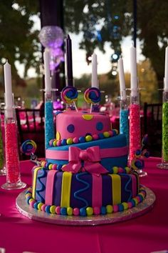 Mostly love the candleholders Pretty cake for a candy theme