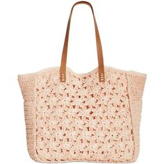 Straw Studios Flower Crochet Tote (59 CAD) ❤ liked on Polyvore featuring bags, handbags, tote bags, purses, accessories, totes, peach, flower tote bag, macrame handbags and imitation purses