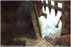 John Howe - Jack flees with the magic harp - Jack and the beanstalk - 1988 John Howe, Goldilocks And The Three Bears, Rumpelstiltskin, Jack And The Beanstalk, Fairytale Art, New Image, Fairy Tales, Art Gallery, Magic