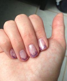 #diy #purple #glitter #gel polish #nails