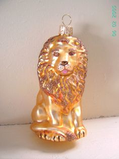 Blown Glass Lion Glass Christmas Ornament 4 made by ukbeadsonline