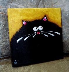 Mini canvas Fat Cat Art  6 inches by 6 inches