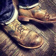 Well worn Iron Rangers.