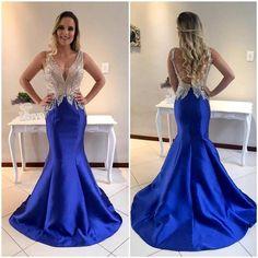 vestido sereia azul royal