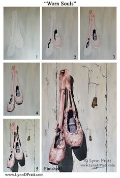 """Step by step, how to, watercolor painting by Lynn D. Pratt """"Worn Soles"""" ballet shoes, sport"""