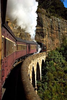 Zig Zag Railway crossing the viaduct, near Lithgow, New South Wales