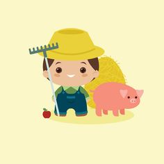 Create a Kawaii Farmer for the Harvest Season in Adobe Illustrator - Envato Tuts+ Design & Illustration Tutorial Cute Illustration, Character Illustration, Digital Illustration, Vector Illustrations, Graphic Design Fonts, Graphic Design Tutorials, Graphic Art, Print Design, Adobe Illustrator Tutorials