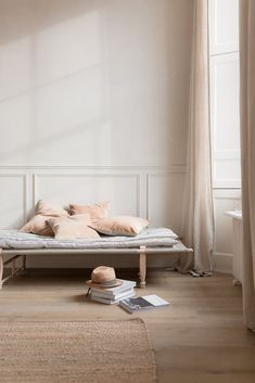 day bed by a large window with velvet cushions Neutral Colour Palette, Neutral Tones, Velvet Cushions, Small Furniture, Luxury Bedding Sets, Slow Living, Linen Bedding, Bed Linens, Linen Curtains