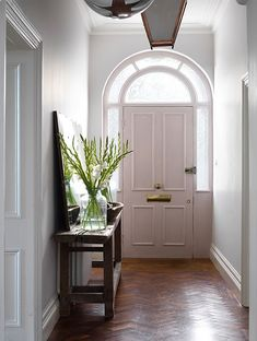 Modern Country Style: Perfectly Neutral Georgian Home Tour-Click . Modern Country Style: Perfect Neutral Georgian Home Tour-Click …, Foyers, Modern Colonial, Modern Country Style, Small Hallways, Entry Hallway, Hallway Ideas, Georgian Homes, Modern Georgian, House Entrance