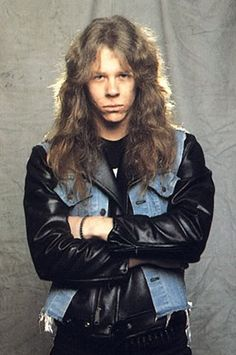 One of James Hetfield's first promo shots as the Metallica frontman. Jason Newsted, Cliff Burton, Robert Trujillo, James Hetfield Young, James Hatfield, Metallica Black Album, Kirk Hammett, The Big Four, Thrash Metal