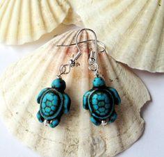 Blue Turtle Turquoise Earrings Sea Turtle Earrings by BijiJewelry, https://www.etsy.com/listing/188050409/blue-turtle-turquoise-earrings-sea?ref=shop_home_active_1
