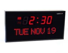 Ivation Big Oversized Digital Blue LED Calendar Clock with Day and Date - Shelf or Wall Mount inches - Red LED)