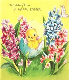 Baby Chick and Flowers Vintage Easter Card