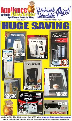 See our website for heart-warming bargains. www.appliancewarehouse.co.za, or phone Mariette - 012 003 1005/0822807628 for more info. Kebabs On The Grill, Display Boxes, Warehouse, South Africa, Household, Appliances, How To Apply, Website, Phone