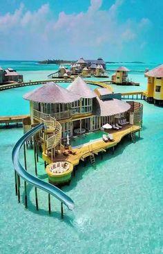 Bora Bora - vacation house built over a tropical ocean Travel Destinations, Unique Honeymoon Destinations, Holiday Destinations, Holiday Places, Maldives Water Villa, The Maldives, Maldives Resort, Bora Bora Resorts, Exuma Bahamas Resorts