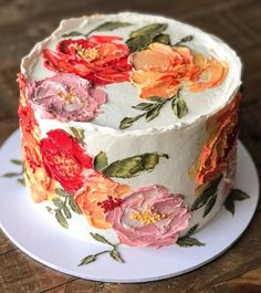 Pretty Birthday Cakes, Pretty Cakes, Beautiful Cakes, Amazing Cakes, Bolo Diy, Gateaux Cake, Traditional Cakes, New Cake, Painted Cakes