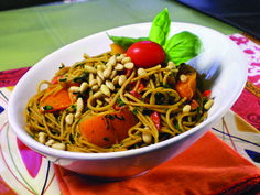 Vegan Angel Hair Pasta with Chard and Bell Peppers from the cookbook ...