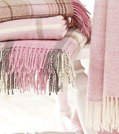 Shetland pink tartan throws