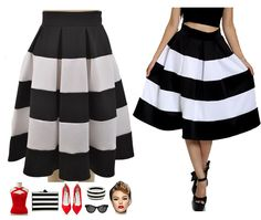 """RESTOCKED! Our super popular """"En Vogue Black & White Stripe High-waist Full Skirt!"""" Only $32 with Free s/h! Get yours here: http://lebombshop.net/products/black-white-stripe-highwaist-full-skirt"""