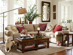 love the idea of changing the pillow covers to reflect the season/holiday.Room Decorating Ideas, Room Décor Ideas & Room Gallery | Pottery Barn