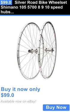 bicycle parts: Silver Road Bike Wheelset Shimano 105 5700 8 9 10 Speed Hubs Training Wheels BUY IT NOW ONLY: $99.0