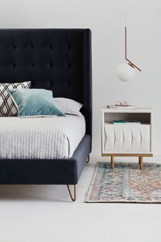 With its large upholstered headboard, this queen size bed allows you to comfortably relax before falling into a restful sleep. Ikea Bedroom Sets, Small Room Bedroom, Bedroom Furniture Sets, Bedroom Decor, Deco Furniture, Home Decor Furniture, Beautiful Home Designs, Interior Design Living Room, Home And Living