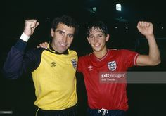 16th October 1985, World Cup Qualifier at Wembley, England 5 v Turkey 0, A double celebration after victory over Turkey for England goalkeeper Peter Shilton, who broke the goalkeeper cap record and hat-trick hero Gary Lineker
