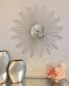 Your place to buy and sell all things handmade Gold Sunburst Mirror, Sun Mirror, Mirror Wall Art, Dollar Tree Mirrors, Mirror Crafts, Metal Clock, Flower Wall Decor, Decoration, Gems